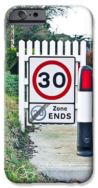 Regulations iPhone Cases - Speed limit iPhone Case by Tom Gowanlock