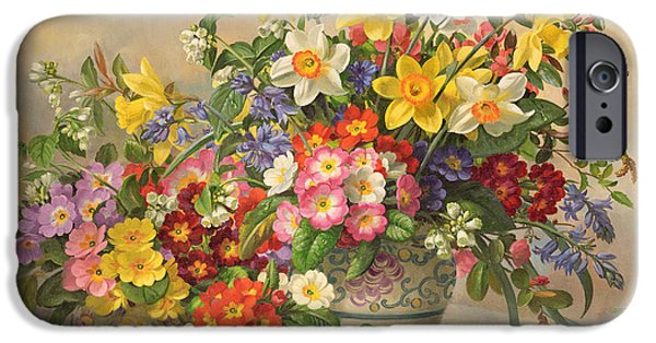 Pottery Paintings iPhone Cases - Spring Flowers and Poole Pottery iPhone Case by Albert Williams