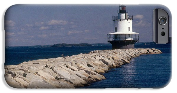 Ledge iPhone Cases - Spring Point Ledge Lighthouse iPhone Case by Bruce Roberts