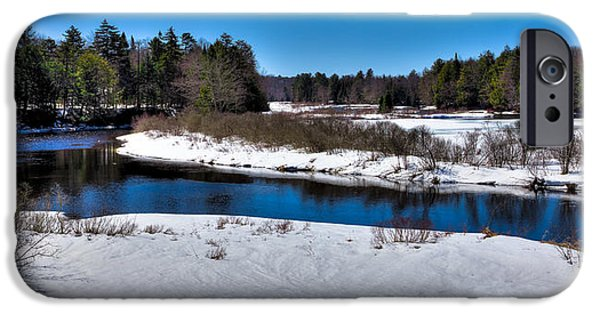 Snow Scene iPhone Cases - Spring Thaw on the Moose River iPhone Case by David Patterson