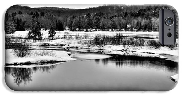 Snow Scene iPhone Cases - Spring Thaw on the Moose River II - Old Forge New York iPhone Case by David Patterson
