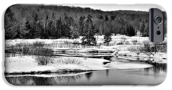 Snow Scene iPhone Cases - Spring Thaw on the Moose River - Old Forge New York iPhone Case by David Patterson