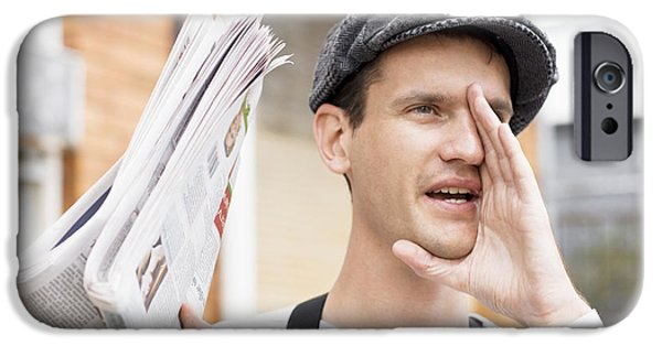 Advertise iPhone Cases - Spruiking Newspaper Boy iPhone Case by Ryan Jorgensen