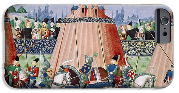 Knighthood iPhone Cases - St Inglevert Jousting Tournament, 1390 iPhone Case by British Library