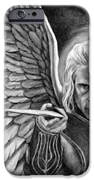 Iconography Drawings iPhone Cases - St. Michael Archangel iPhone Case by Matteo TOTARO
