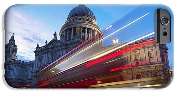From The Dome iPhone Cases - St. Pauls Cathedral And Light Trails iPhone Case by Mark Thomas
