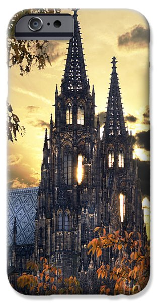 Travel Pyrography iPhone Cases - St Vitus Church in Hradcany Prague iPhone Case by Jelena Jovanovic
