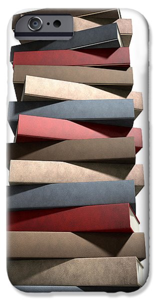 Generic iPhone Cases - Stack Of Generic Leather Books iPhone Case by Allan Swart