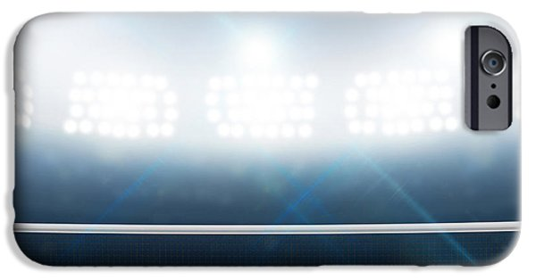 Night Lamp iPhone Cases - Stadium And Tennis Court iPhone Case by Allan Swart