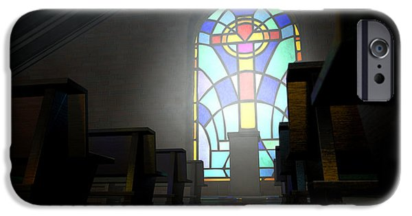 Radiating Light iPhone Cases - Stained Glass Window Church iPhone Case by Allan Swart