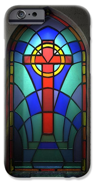 Windows Digital iPhone Cases - Stained Glass Window Crucifix iPhone Case by Allan Swart