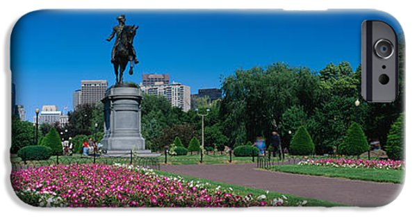 City. Boston iPhone Cases - Statue In A Garden, Paul Revere Statue iPhone Case by Panoramic Images