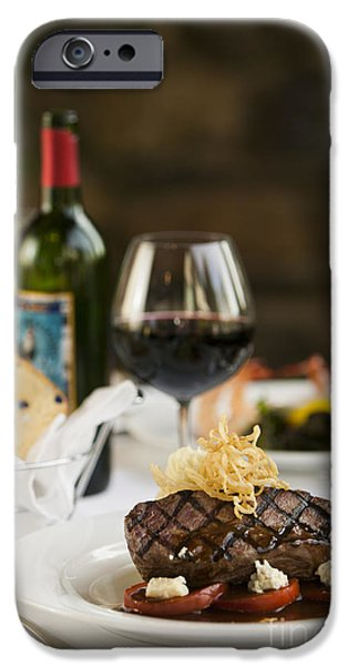 Table Wine iPhone Cases - Steak dinner on white plate. iPhone Case by Don Landwehrle