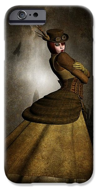 Mechanism Mixed Media iPhone Cases - Steam Punk Woman iPhone Case by Todd and candice Dailey