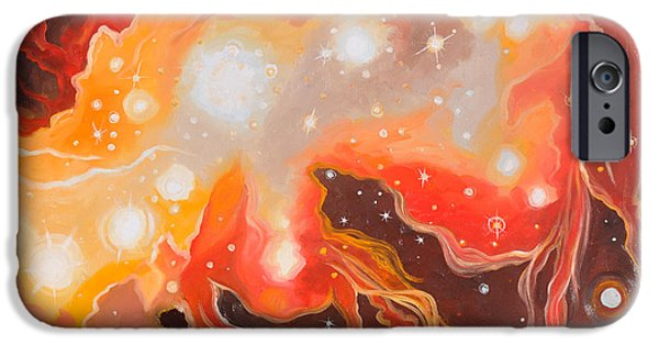Outer Space Paintings iPhone Cases - Stellar Inferno iPhone Case by Cedar Lee