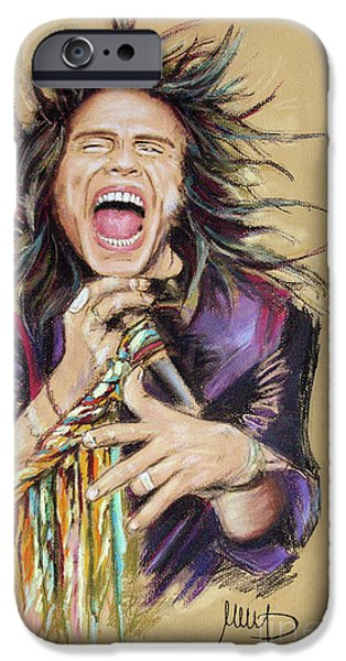 Celebrities Pastels iPhone Cases - Steven Tyler  iPhone Case by Melanie D