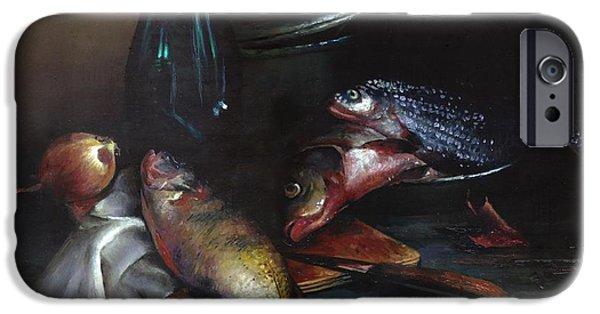 Still Life With Fish iPhone Cases - Still life with fish iPhone Case by Victor Mordasov