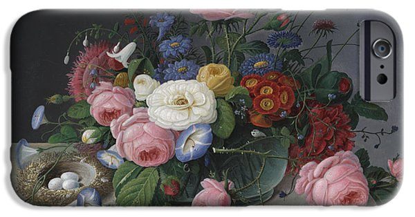 Flower Still Life Prints iPhone Cases - Still Life with Flowers and Birds Nest iPhone Case by Severin Roesen