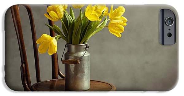 Flora Photographs iPhone Cases - Still Life with Yellow Tulips iPhone Case by Nailia Schwarz