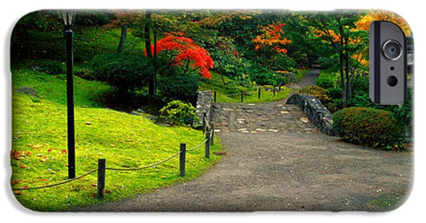 Green Foliage iPhone Cases - Stone Bridge, The Japanese Garden iPhone Case by Panoramic Images
