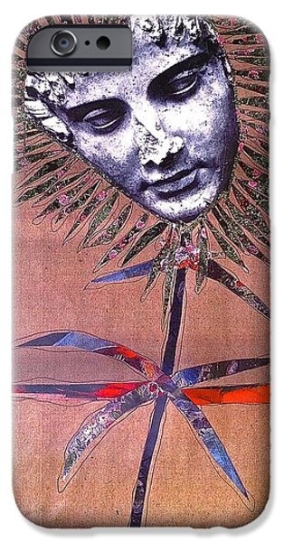 Cardboard Mixed Media iPhone Cases - Stone Flower With A Broken Nose iPhone Case by Debra Amerson