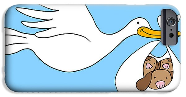 Puppy Digital iPhone Cases - Stork Delivers Puppies iPhone Case by John Takai