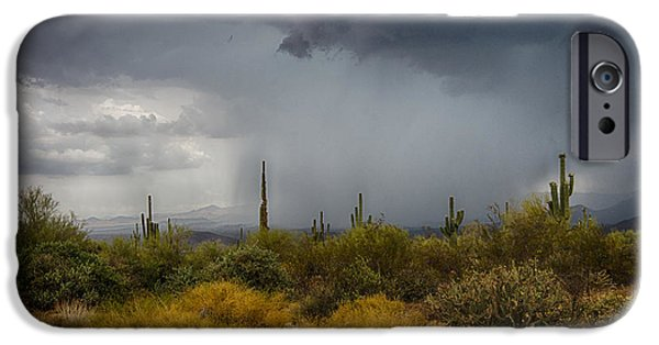 Natural Forces iPhone Cases - Stormy Desert Skies  iPhone Case by Saija  Lehtonen