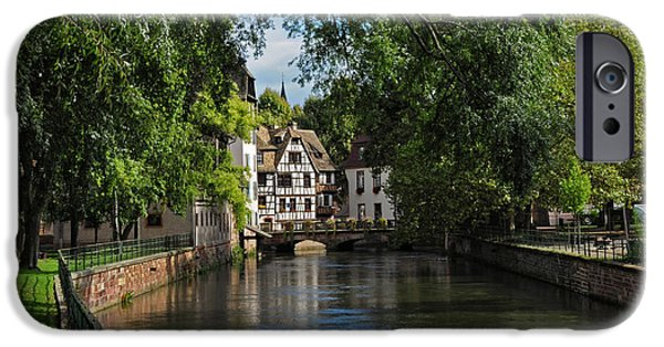 River View iPhone Cases - Strasbourg Canal View iPhone Case by Dave Mills