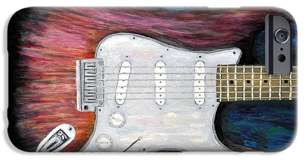 Fender Strat Paintings iPhone Cases - Strat for Jeff Golub iPhone Case by Barney Napolske