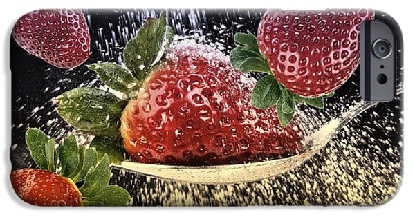 Strawberry Art iPhone Cases - Strawberries iPhone Case by Manfred Lutzius