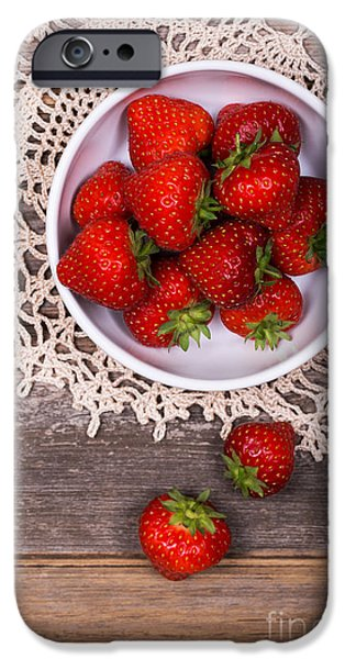 Crops iPhone Cases - Strawberry vintage iPhone Case by Jane Rix