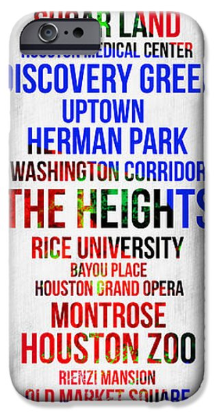Downtown Digital iPhone Cases - Streets of Houston 1 iPhone Case by Naxart Studio