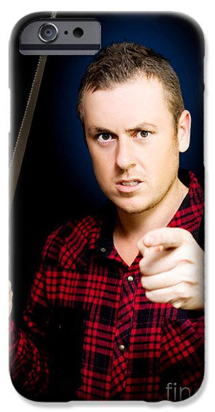 Diy iPhone Cases - Stressed workman pointing the finger at you iPhone Case by Ryan Jorgensen