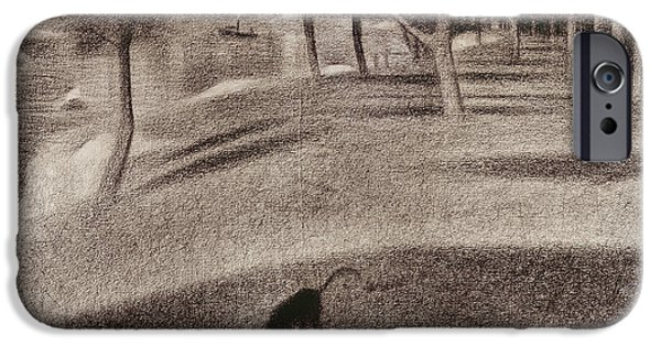 Study iPhone Cases - Study for Sunday Afternoon on the Island of La Grande Jatte iPhone Case by Georges Pierre Seurat