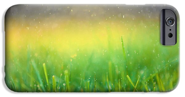 Nature Abstracts iPhone Cases - Summer Rain Abstract iPhone Case by Maria Bobrova