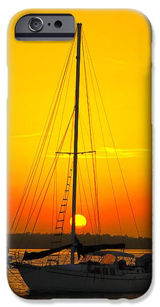 Sailboats iPhone Cases - Sun Sail iPhone Case by Joey Waves