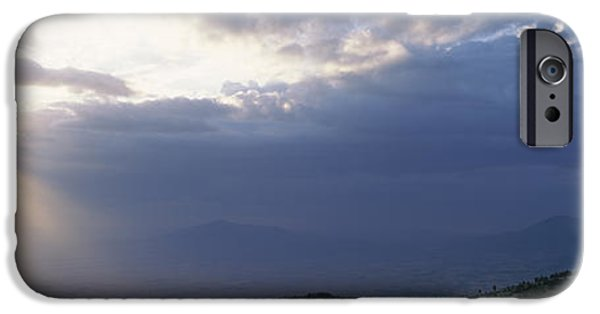 Rift iPhone Cases - Sunbeams Radiating Through Clouds iPhone Case by Panoramic Images
