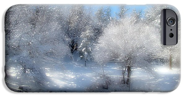 Snowy Day Digital Art iPhone Cases - Sunday Morning iPhone Case by Gothicolors Donna Snyder