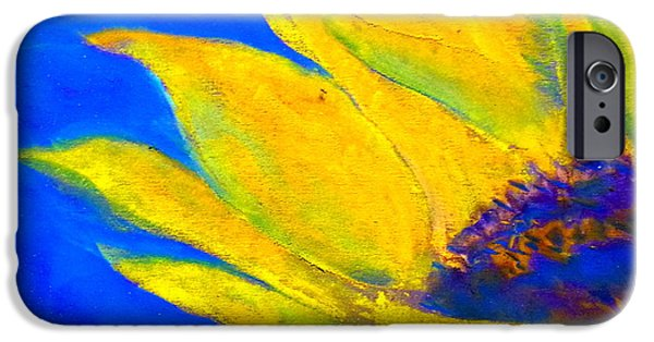 Pastel iPhone Cases - Sunflower in Blue iPhone Case by Sue Jacobi
