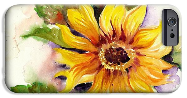 Girasol iPhone Cases - Sunflower Watercolor iPhone Case by Tiberiu Soos