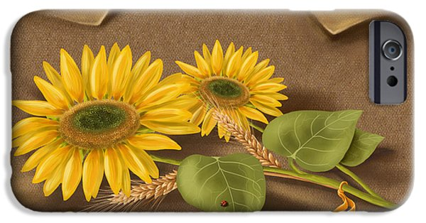 Close Paintings iPhone Cases - Sunflowers iPhone Case by Veronica Minozzi