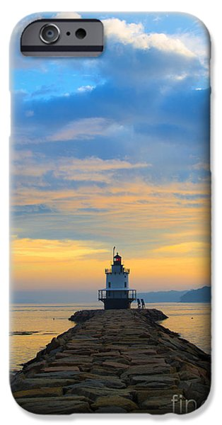 Lighthouses iPhone Cases - Sunrise at Spring Point Lighthouse iPhone Case by Diane Diederich