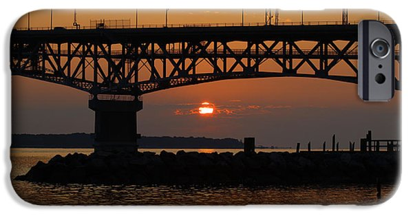 Yorktown Virginia iPhone Cases - Sunrise on the Chesapeake iPhone Case by Barry  Blackburn