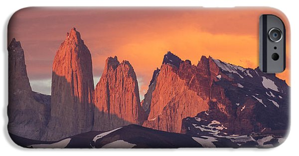 Mountain iPhone Cases - Sunrise Torres Del Paine Np Chile iPhone Case by Matthias  Breiter
