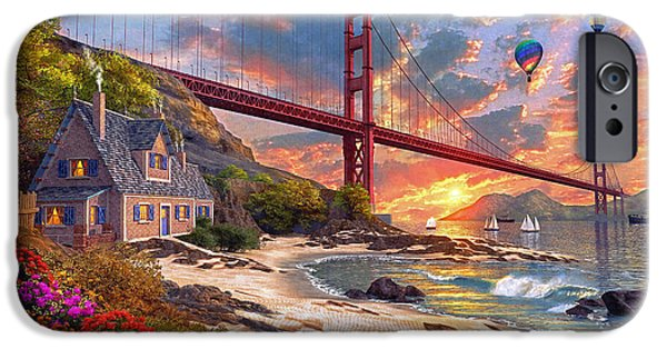 Hot Air Balloon Digital iPhone Cases - Sunset at Golden Gate iPhone Case by Dominic Davison