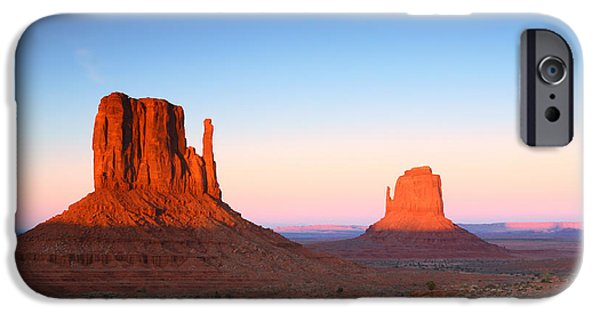 Surrealism Pyrography iPhone Cases - Sunset Buttes in Monument Valley Arizona iPhone Case by Katrina Brown