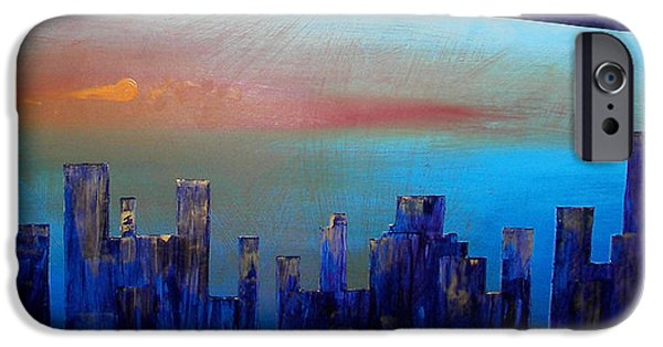 Sunset Reliefs iPhone Cases - Sunset City iPhone Case by Bojana Randall