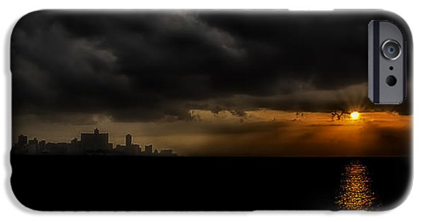 Cuba iPhone Cases - Sunset in Havana iPhone Case by Erik Brede