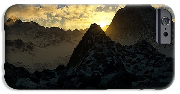 Photorealistic iPhone Cases - Sunset in the Stony Mountains iPhone Case by Hakon Soreide