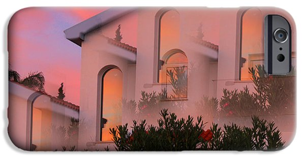 Amazing Sunset iPhone Cases - Sunset on Houses iPhone Case by Augusta Stylianou